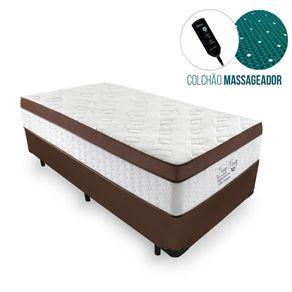 Cama Box Solteiro Marrom + Colchão Massageador c/ Infravermelho - Anjos - New King 88x188x65cm