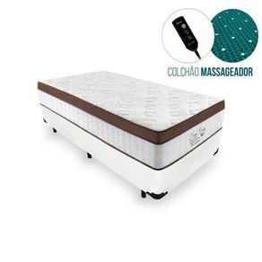 Cama Box Solteiro Branca + Colchão Massageador c/ Infravermelho - Anjos - New King 88x188x65cm