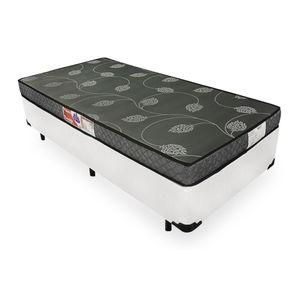 Cama Box Solteiro Branca + Colchão De Espuma D20 - Prorelax - Violeta 88x188x47cm