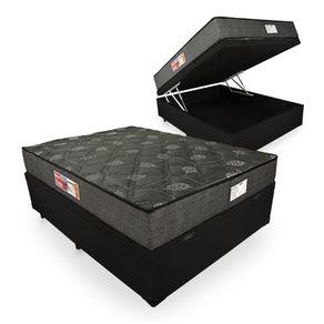 Cama Box Baú Casal Preta + Colchão De Espuma D23 - Prorelax - Sienna 138x188x66cm
