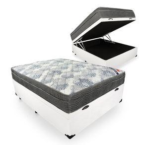 Cama Box Com Baú Viúva Branca + Colchão De Molas Ensacadas - Ortobom - ISO SuperPocket - 128x188x67cm