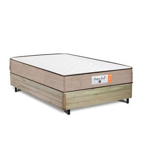 Cama Box Casal Rústica + Colchão de Molas Superlastic - Comfort Prime - Coil Crystal - 138x188x55cm