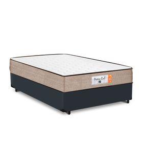 Cama Box Casal Cinza + Colchão de Molas Superlastic - Comfort Prime - Coil Crystal - 138x188x53cm
