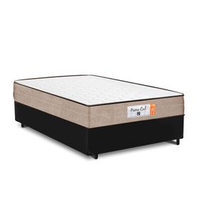 Cama Box Casal Preta + Colchão de Molas Superlastic - Comfort Prime - Coil Crystal - 138x188x53cm