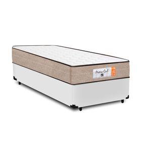 Cama Box Solteiro Branca + Colchão de Molas Superlastic - Comfort Prime - Coil Crystal 78x188x53cm