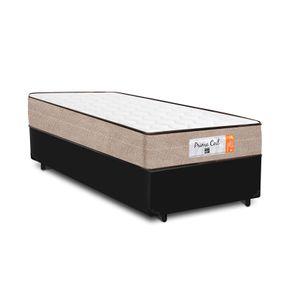 Cama Box Solteiro Preta + Colchão de Molas Superlastic - Comfort Prime - Coil Crystal 78x188x53cm