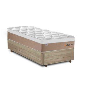 Cama Box Solteiro Rústica + Colchão de Molas Ensacadas - Plumatex - Madri - 88x188x69cm