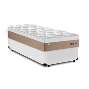 Cama Box Solteiro Branca + Colchão de Molas Ensacadas - Plumatex - Madri - 88x188x67cm