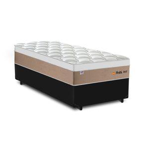 Cama Box Solteiro Preta + Colchão de Molas Ensacadas - Plumatex - Madri - 88x188x67cm