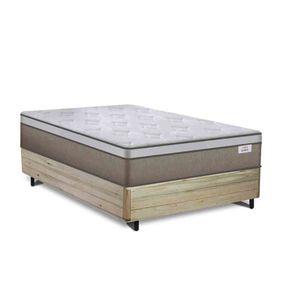 Cama Box Casal Rústica + Colchão de Molas Ensacadas - Plumatex - Ilhéus - 138x188x63cm