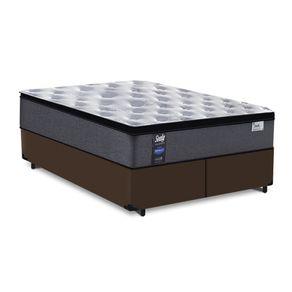 Cama Box King Marrom + Colchão de Molas Ensacadas - Sealy - Starck - 193x203x63cm