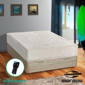 Cama Box com Báu Casal Rústica + Colchão Massageador - Mormaii - Flutuante 138x188x72cm