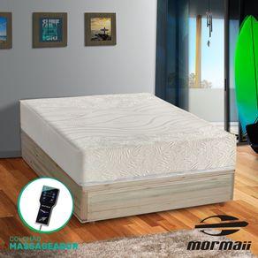 Cama Box Casal Rústica + Colchão Massageador - Mormaii - Flutuante 138x188x67cm