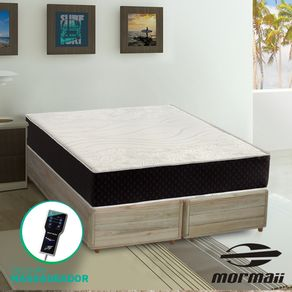 Cama Box Queen Rústica + Colchão Massageador - Mormaii - Smartzone Lotus 158x198x67cm