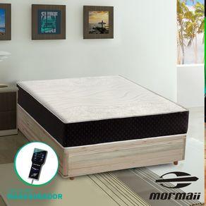 Cama Box Casal Rústica + Colchão Massageador - Mormaii - Smartzone Lotus 138x188x67cm