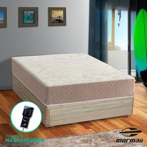 Cama Box Casal Rústica + Colchão Massageador - Mormaii - Smartzone Diamonds 138x188x67cm