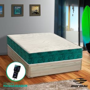 Cama Box Casal Rústica + Colchão Massageador - Mormaii - Smartzone Rupestre 138x188x67cm
