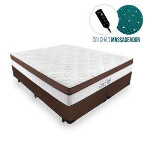Cama Box Queen Marrom + Colchão Massageador c/ Infravermelho - Anjos - New King - 158x198x65cm