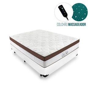 Cama Box Casal Branca + Colchão Massageador c/ Infravermelho - Anjos - New King - 138x188x65cm