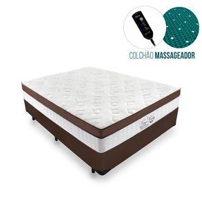 Cama Box Casal Marrom + Colchão Massageador c/ Infravermelho - Anjos - New King - 138x188x65cm