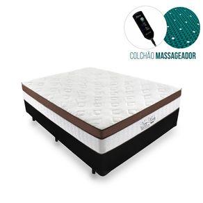 Cama Box Casal Preta + Colchão Massageador c/ Infravermelho - Anjos - New King - 138x188x65cm