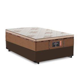 Cama Box Viúva Marrom + Colchão de Molas Ensacadas - Comfort Prime - New Imperador - 128x188x68cm