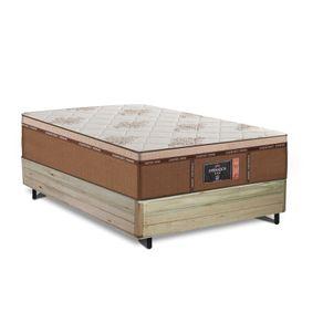 Cama Box Viúva Rústica + Colchão de Molas Ensacadas - Comfort Prime - New Imperador - 128x188x70m