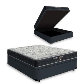 Cama Box Baú Casal Cinza + Colchão De Molas - Probel - Prodormir Sleep Black 138x188x64cm