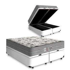 Cama Box Com Baú Queen Branca + Colchão De Molas Ensacadas - Probel - Evolution 158x198x74cm