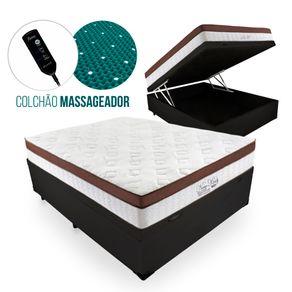 Cama Box Com Baú Casal Preta + Colchão Massageador c/ Infravermelho - Anjos - New King - 138x188x72cm