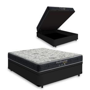 Cama-Box-Com-Bau-Solteiro-Preta---Colchao-De-Molas---Probel---Sleep-Black-88x188x64cm