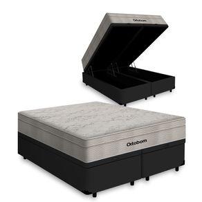 Cama Box Baú Queen Preta + Colchão De Molas Ensacadas - Ortobom - AirTech SpringPocket 158x198x72cm