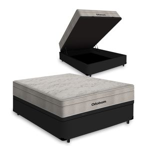 Cama Box com Baú Casal Preta + Colchão De Molas Ensacadas - Ortobom - AirTech SpringPocket 138x188x72cm