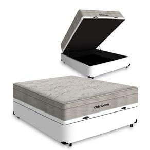 Cama Box com Baú Casal Branca + Colchão De Molas Ensacadas - Ortobom - AirTech SpringPocket 138x188x72cm
