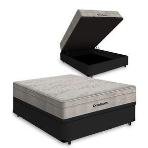 Cama Box com Baú Viúva Preta + Colchão De Molas Ensacadas - Ortobom - AirTech SpringPocket 128x188x72cm