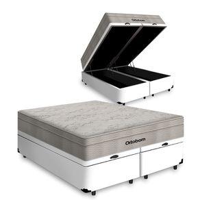 Cama Box Baú Queen Branca + Colchão De Molas Ensacadas - Ortobom - AirTech SpringPocket 158x198x72cm