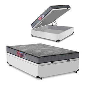 Cama Box Com Baú Viúva Branca + Colchão De Espuma D23 - Prorelax - Sienna - 128x188x56cm