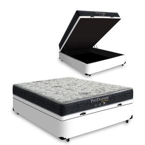 Cama Box Com Baú Casal Branca + Colchão De Molas - Probel - Prodormir Sleep Black 138x188x67cm