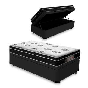 Cama Box Com Baú Solteiro Preta + Colchão De Molas - Ortobom - Physical Nanolastic 88x188x65cm