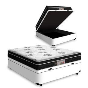 Cama Box Com Baú Casal Branca + Colchão De Molas - Ortobom - Physical Nanolastic - 138x188x65cm