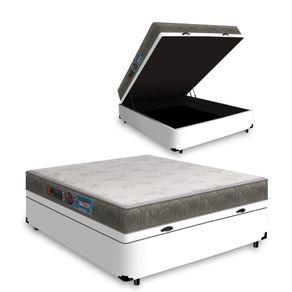 Cama Box Com Baú Casal Branca + Colchão De Espuma D33 - Castor - Sleep Max 138x188x60cm