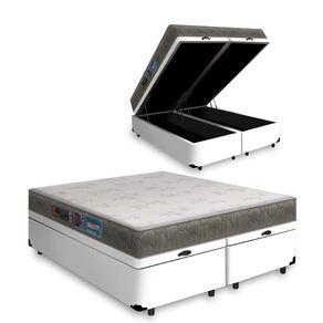 Cama Box Com Baú Queen Branca + Colchão De Espuma D33 - Castor - Sleep Max - 158x198x60cm