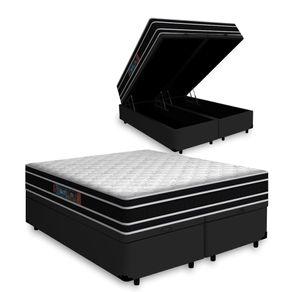 Cama Box Baú King Preta + Colchão De Espuma D33 - Castor - Black White Double Face 193x203x69cm