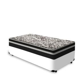 Cama Box Solteiro Branca + Colchão De Molas - Anjos - Black Graphite 88x188x61cm