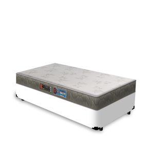 Cama Box Solteiro Branca + Colchão De Espuma D33 - Castor - Sleep Max 88x188x53cm