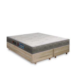 Cama Box King Rústica + Colchão De Espuma D33 - Castor - Sleep Max 193x203x55cm