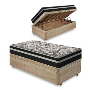 Cama-Box-com-Bau-Solteiro-Rustica---Colchao-De-Molas---Anjos---Black-Graphite-88x188x68cm