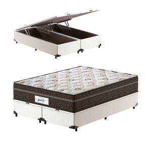 Cama-Box-Bau-Super-King-Branca---Colchao-de-Molas-Ensacadas---Probel---Pro-Sleep-Max---193x203x72cm