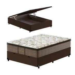 Cama-Box-com-Bau-Viuva-Marrom---Colchao-de-Molas-Prolastic---Probel---Guarda-Costas-Platinum-128x188x76cm