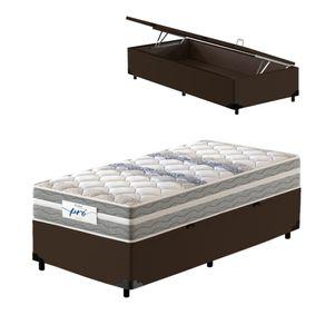 Cama-Box-Bau-Solteiro-Marrom---Colchao-de-Molas-Prolastic---Probel---Pro-Basic---88x188x66cm